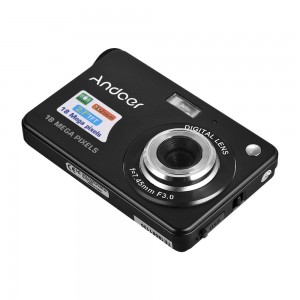 Andoer 18M 720P HD Digital Camera Video Camcorder with 2pcs Rechargeable Batteries 8X Digital Zoom Anti-shake 2.7inch LCD Kids Christmas Gift