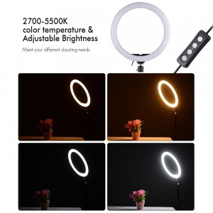 Compact Size LED Video Ring Light Fill-in Lamp 24W Dimmable 2700-5500K Color Temperature with Smartphone Holder 2pcs Ball Heads for iPhone X/8/7/6/6s for Samsung Huawei Xiaomi