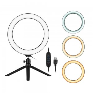 10 Inch LED Ring Light with Tripod Stand 3200K-5500K Dimmable Table Camera Light Lamp 3 Light Modes & 10 Brightness Level for YouTube Video Photo Studio Live Stream Portrait Makeup Photography
