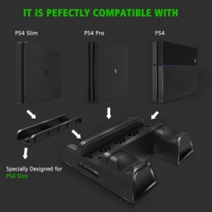 Cooling Stand for PS4/ PS4 Slim/ PS4 Pro, Multifunctional Vertical Stand with Dual Controller Chargi